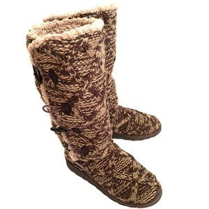 Mukluks Brown Knit Button Up Slippers / Boots 8